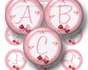 Pink, Alphabet, Letters, 1 Inch Circle, Bottle Cap Images,  Butterfly and Bows, 1 Inch Circles, Digital Collage Sheets, Download (No.1)