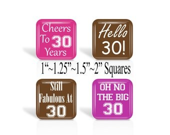 "30th, Birthday, Digital Collage Sheets, 1"", 1.25"", 1.5"", 2 Inch Square, Glass Tile Images, Square Images, Cupcake Toppers, Pendants  (3c.1)"
