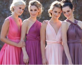 """RESERVED for Carla Cha bridal party - 8 Custom Maxi """"Infinity"""" Dresses in magenta satin jersey"""
