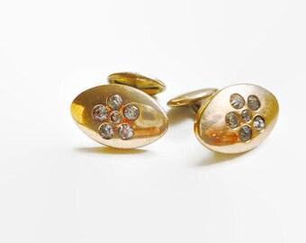 Antique Cufflinks Bean Back 10k Gold With Mine Cut Diamonds 1890s