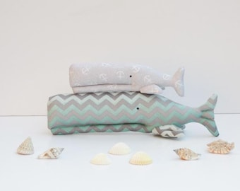 Stuffed whale toy plush softie whales teal gray chevron and anchor whale sea toys for kids baby shower gift nursery decor
