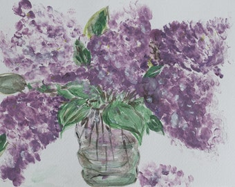 Original lilac flowers art - Watercolor original painting - soft purple Lilacs - Flowers in a glass purple art - Minimalist floral painting