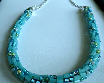 Blue Mediterranean mix beaded Kumihimo Necklace with silver chain, statement necklace, fashion jewelry