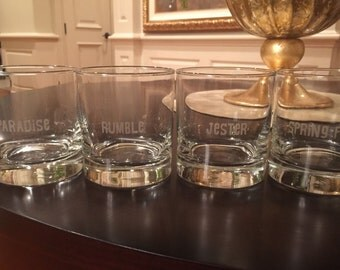 Set of FOUR 11oz Low Ball Whisky/Scotch Glasses with name/monogram/personalization