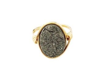 Meteorite Druzy Oval Statement Ring