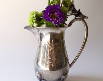 Silver Creamer with Etched Detail