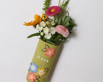 Magnetic Flower Vase, polymer clay refrigerator magnet, gift for grandmothers, pen holder