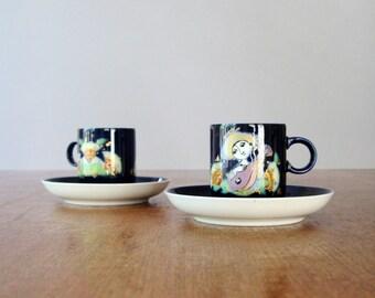 Pair Vintage Danish Modern Wiinblad Rosenthal Demitasse / Espresso Cups / Saucers