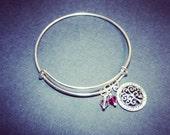Family Tree Charm Bracelet - Silver Bangle Adjustable Bracelet - Add a Swarovski Birthstone - Charm Bracelets - Crystal Tree - Mother