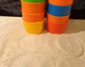 Tupperware Vintage 8 Color Snack Cups #1229 w/Sheer Seals Lids