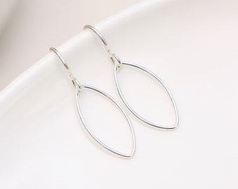 Silver Marquise Hoop Earrings,  Long Dangle Earrings Geometric Jewelry Gold and Silver Earrings Modern  Bohemian Earrings Gold Gift For Her