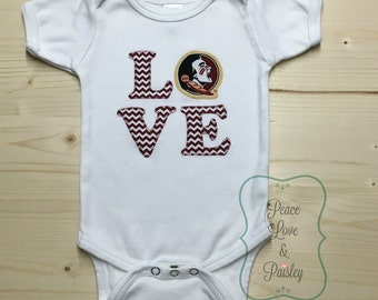 FSU Bodysuit made from Florida State University Fabric, FSU Baby, FSU Baby Girl, Baby Shower Gift, Nole Girl, Garnet and Gold, Nole Girl