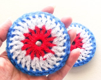 Nylon Netting Dish Scrubbies - Set of 2 through 8 - Red, White and Blue Multicolor Pot Scrubber