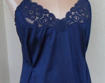 Vintage Camisole Size 36 Vanity Fair Cami Blue Silky Nylon Half Slip