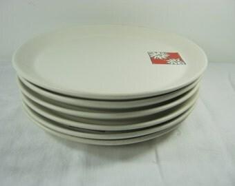 Vintage MOD DAISY Salad PLATE Set/6 Swiss Fondue Plates Dessert Daisies