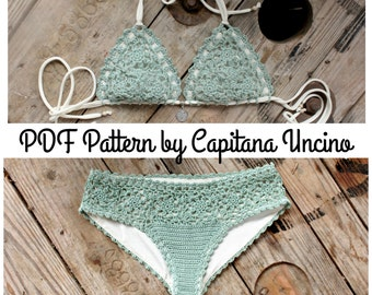 PDF, Crochet PATTERN for Doris Lingerie Crochet Bikini Top and Bottom, With Lining, Sizes XS-L