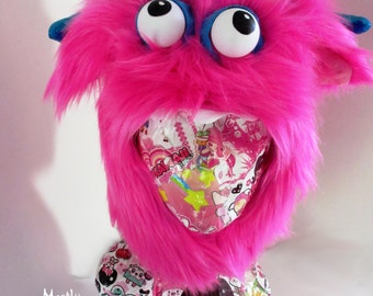 Monsterface Aviator Hat; Pink Monsterface with Turquoise and Rainbow; ping pong monster hat; fuzzy monster hat; pink furry monster hat