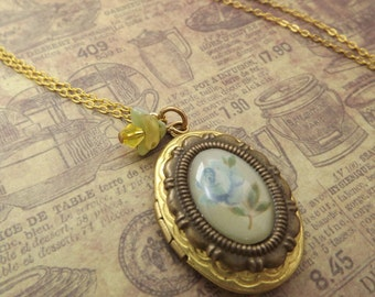 Blue Rose Cameo Locket