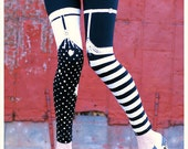 BLACK White Striped Leggings - Pippi GARTER Legging - medium - polka dot Legwear tights printed