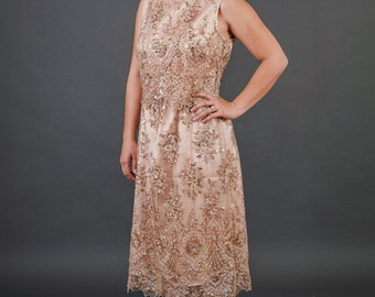 Gatsby 20's Vintage inspired beaded embroidery champagne lace Mother of the Bride dress