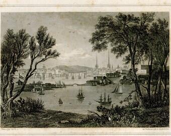 1856 Antique Print Stockholm,  Sweden, Black and White Engraving