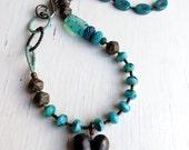 Looking Out - handmade necklace, heart jewellery, turquoise necklace, bead necklace, blue necklace, songbead, uk, lampwork neckalce
