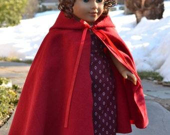 Doll Cloak Cape American Girl Felicty cardinal cloak
