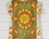 Upcycled Linen Tea Towel Tunic Women Mustard Olive Orange Yellow Retro Floral  Medium Cotton Australian Made