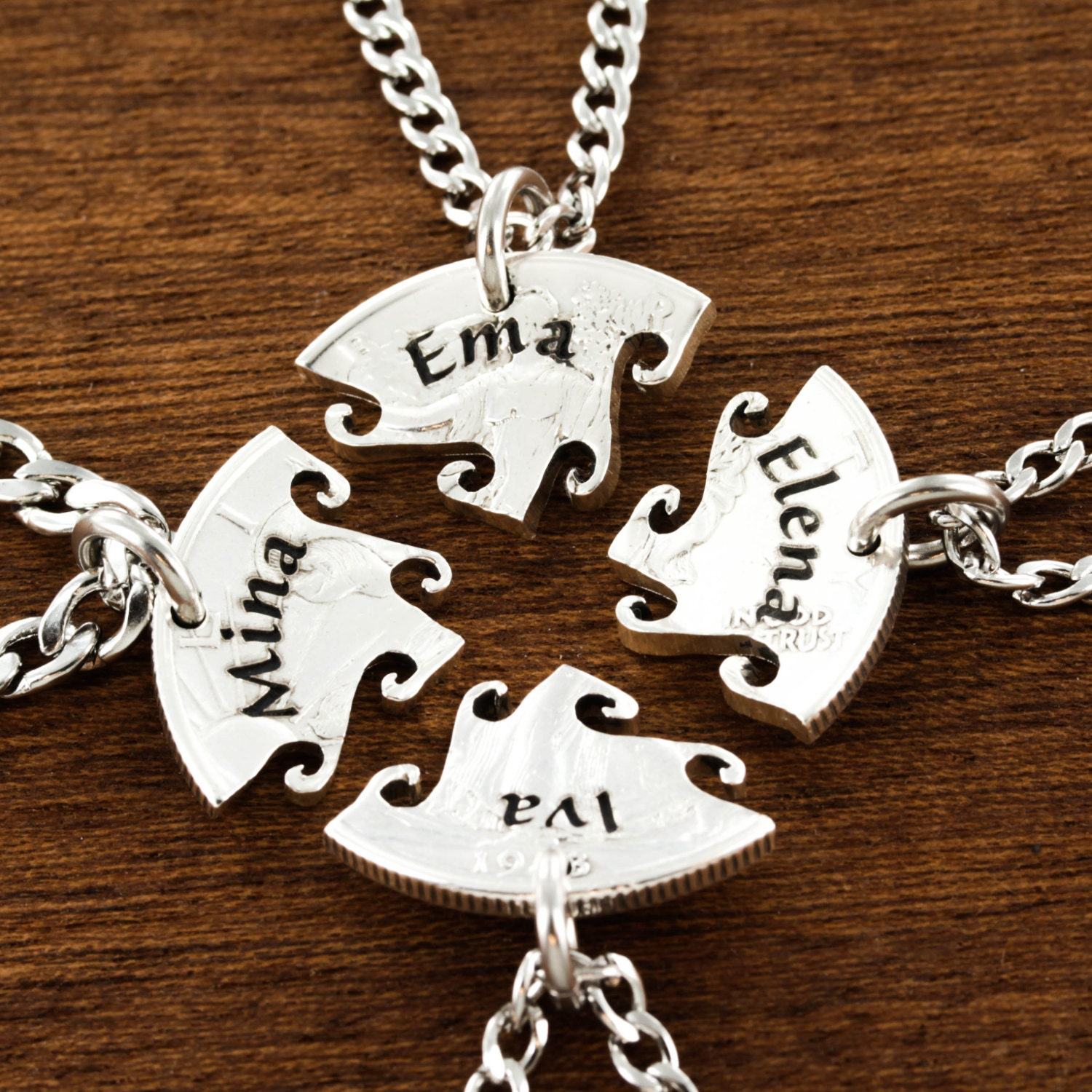 4 best friend necklace custom name necklaces interlocking