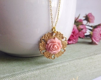 Romantic rose necklace, layering necklace, pink rose, pretty necklace, gold filigree, boho chic necklace, Valentine's Day gift