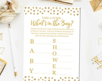 Elegant Whatu0027s In The Bag Baby Shower Game, Baby Shower Game Printable, Gold Baby  Shower