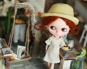 Miss yo 2016 Summer & Autumn - Short Sleeves One-piece dress for Blythe doll - dress / outfit - Light Brown Stripes