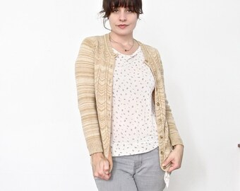 Vintage Jaeger Cardigan . Cashmere Camel Hair and Lambswool . Size EU 36 . US Size Small