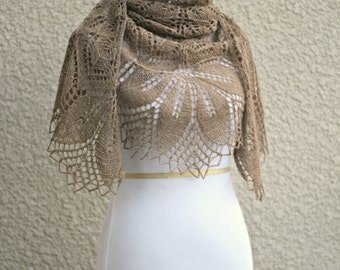 Knit shawl in beige color, wedding shawl, bridesmaids shawl, knitted wrap, gift for her ready to ship