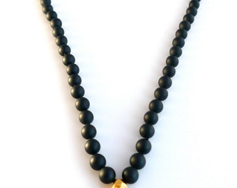 Unisex Handknotted Onyx Necklace with 24k Gold Filled Bullet with Skulls