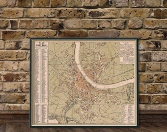 Map of Basel - Old map  archival print