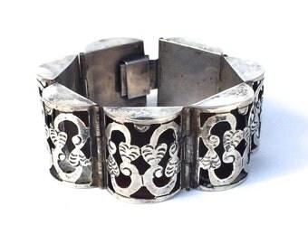 Mexican Sterling Bracelet Shadowbox Barrel Link