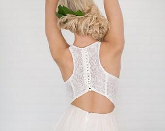 Wren Wedding Dress //Modern Boho Chiffon Wedding Dress / Scuba neck/Lace Dress