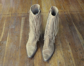 Fringe 90's Boots / Vintage Women's Western Boots / Size 38 Shoes / Light Brown Suede