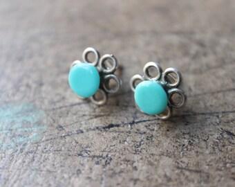 Turquiose EARRINGS / Sterling Silver Jewelry / Vintage Posta Earrings