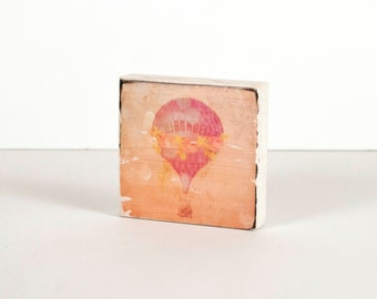 Hot Air Balloon Print, Art Block, Art Blocks, Wood Printing, Wood Block Art, Balloon Print, Carnival, Small Art