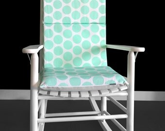 Rocking Chair Cushion Cover - Fancy Dot Mint, Ready to Ship