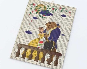 Beauty and the beast on Canvas board-children wall art- beauty and the beast canvas art panel-Nursery wall art-Design by NATURA PICTA CB027