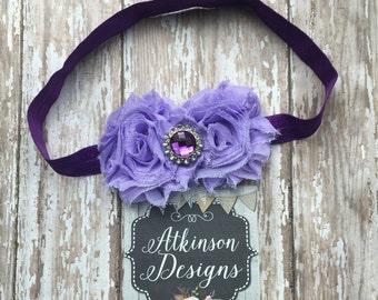 Baby Headband ,Purple Headband, Double Shabby Flower Headband, Shabby Flower Headband- Purple Toddler Headband, shabby flowers, lavender
