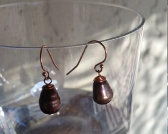 Brown Teardrop Water Pearls