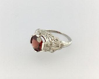 Platinum Diamond Engagement Ring Garnet Filigree