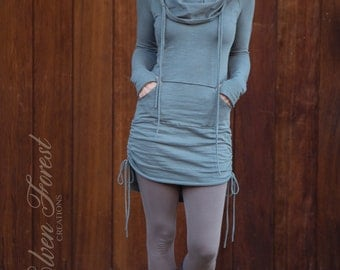 Hi-Lo Scrunchie Dress ~ with cowl hood and kangaroo pocket and thumb holes ~ adjustable length