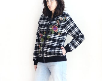 plaid floral embroidered bomber jacket