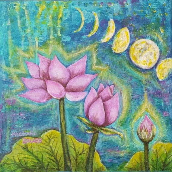 Full Luna Lotus by Rachael Rose Art acrylic painting moon phase yoga goddess art print