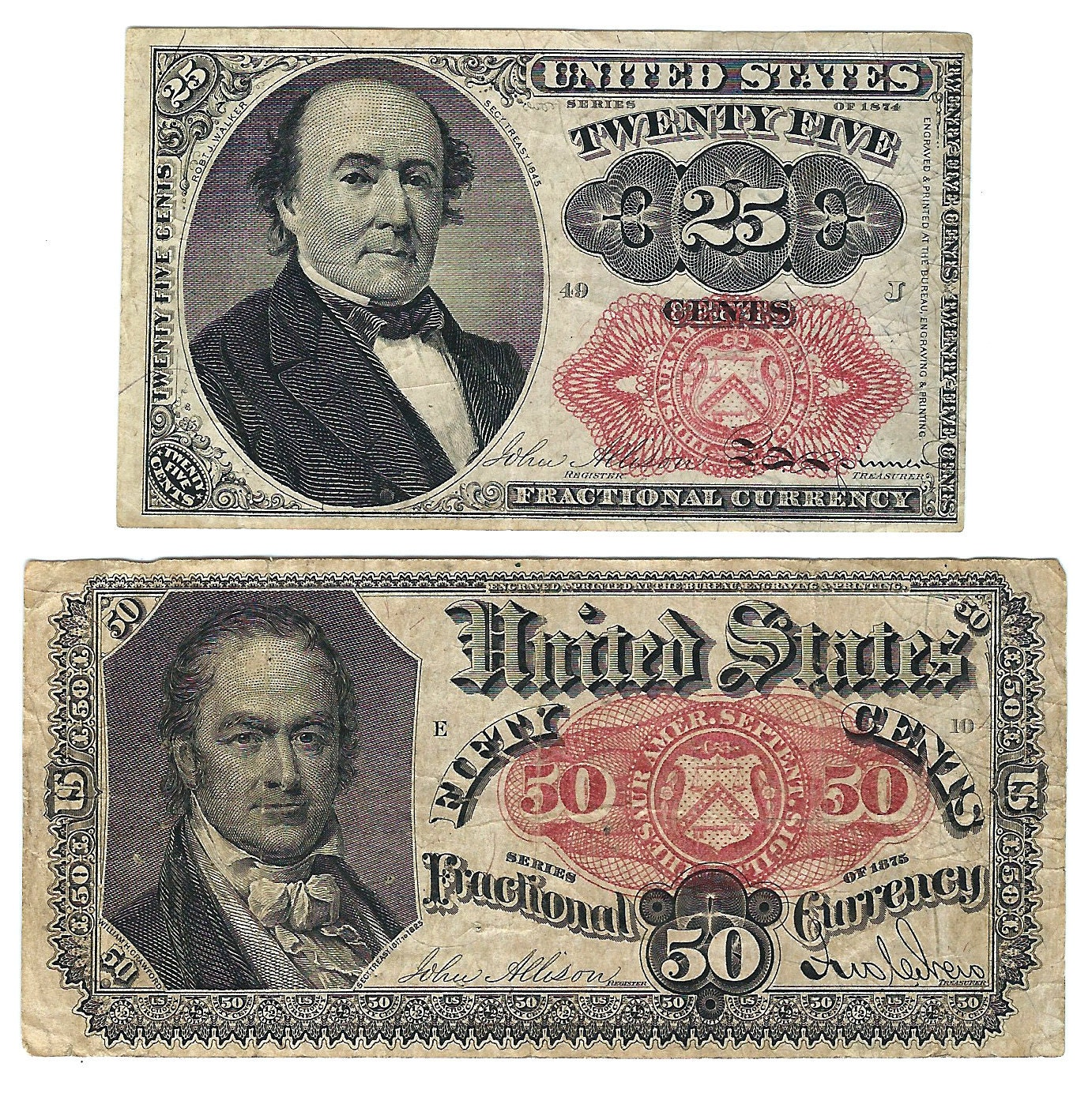 Antiques Us: Lot Of 2 Antique Vintage US Fractional Currency Paper Money